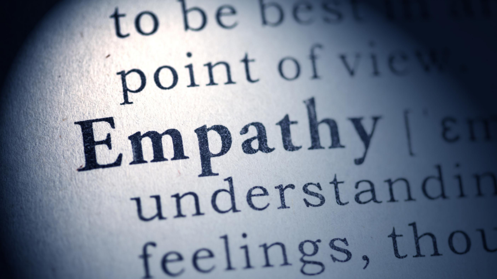 close up of a dictionary definitition of the word empathy